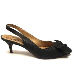 LANVIN Black Leather Slingback Heels 36.5